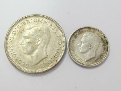 1943  Silver Shilling And 3 Pence Australia Nice Type Coins For The Book