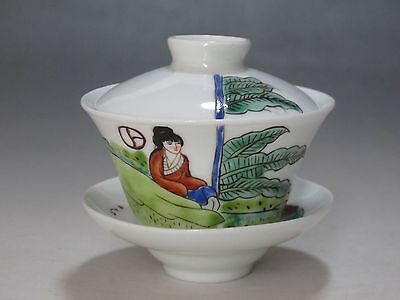 China Famille Rose porcelain a Set Tea Cup painted Woman banana leaves Tea Cup