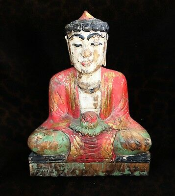 "Antique Folk-Art Carved & Painted Wood Buddha, Rural Thailand  12""h"