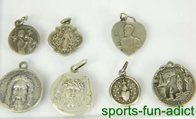 Lot of 7 Vintage Antique 800 Silver Jesus Mary Pope Religious Medals Charms