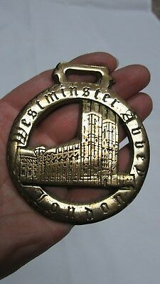 Vintage English Brass Horse Bridle Westminister Abbey Medallion Ornament England