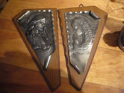 Vintage Pair Of Italian Pewter & Wood Wall Plaques Christ & The Virgin Signed