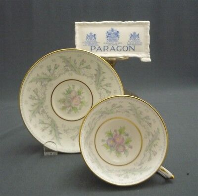 Wide Paragon England Bone China Tea Cup & Saucer Duo Hand Painted Thistle