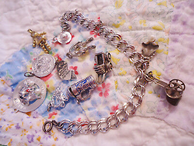 Lot Of Vintage Sterling Charm Bracelet And Silver Charms