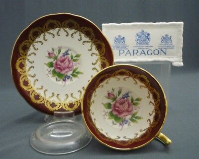 Nice Red Gold Hand Painted Paragon England Pink Rose Bone China Tea Cup & Saucer