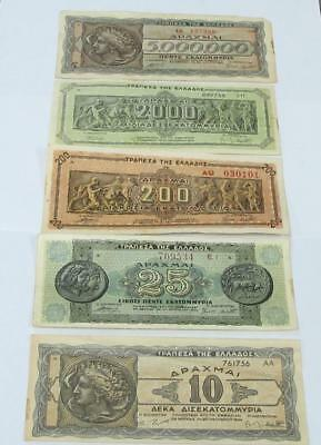 1944 Greece Banknotes Lot Light Circ Look Good In A Frame High Bid Takes All