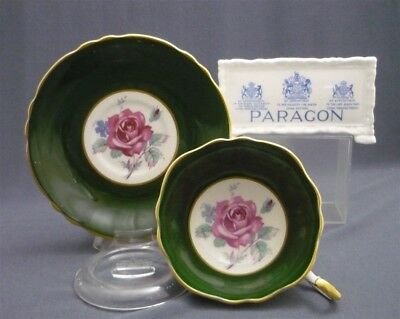 Wide Paragon England Bone China Forest Green PINK ROSES Tea Cup & Saucer Duo Set