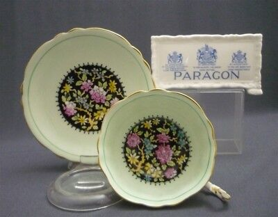 Green Black Hand Painted Paragon England Flowers Bone China Tea Cup & Saucer Duo