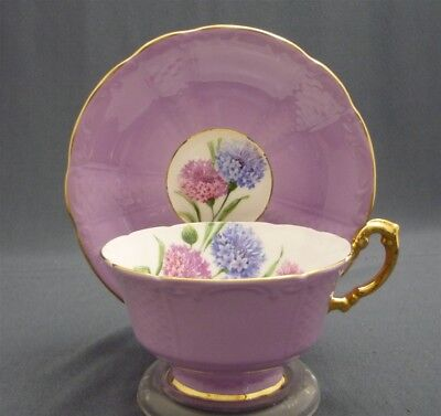 WIDE Lilac Mauve Paragon England Bone China MUMS Flowers Tea Cup & Saucer Duo