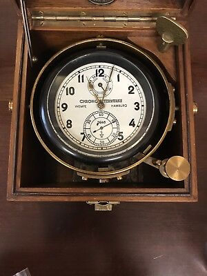 ULTRA RARE World War II German Wempe Hamburg Marine Chronometer in Wooden Case