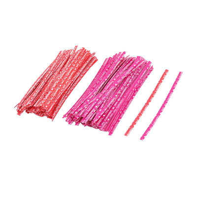 English Letter Print DIY Candy Biscuit Bag Packing Twist Ties Fuchsia Red 200pcs