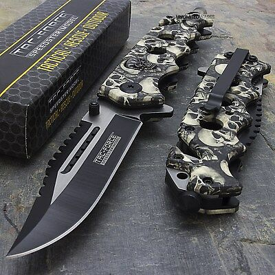 "8.25"" TAC FORCE SKULLS SPRING ASSISTED TACTICAL FOLDING KNIFE Blade Open Pocket"