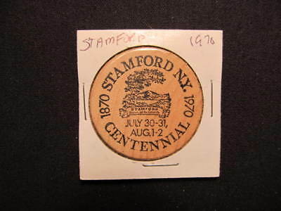 1970 Stamford, New York Wooden Nickel token - Stamford, NY 100th Wooden Coin BLK