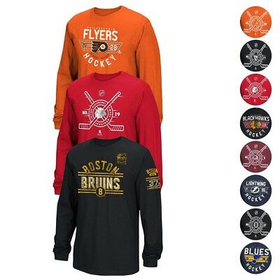 NHL Team Player Name & Number Long Sleeve Jersey T-Shirt Collection Men's