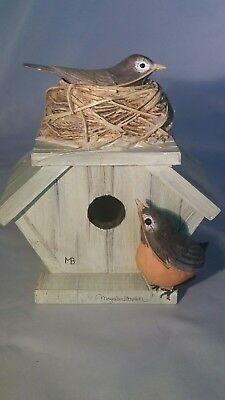 Marjolein Bastin 2Pc Signed Hallmark Nature Trinket Box Birdhouse w/Nest, Birds
