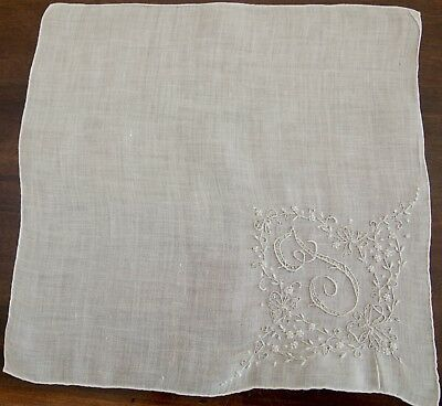 Vintage Madeira Hanky Monogram I or J Embroidered with Bows