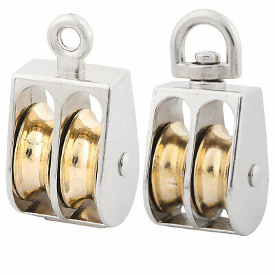 Factory Zinc Alloy Hardware Double Rope Pulley Block Silver Tone 25mm Dia 2 in 1