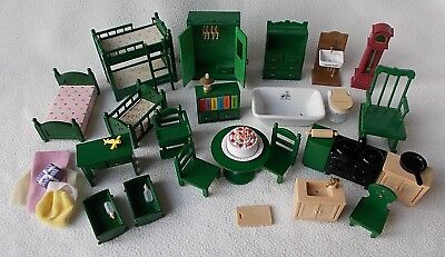 Bundle of Vintage Sylvanian Families Green Furniture ~ Epoch etc 1980s Job Lot