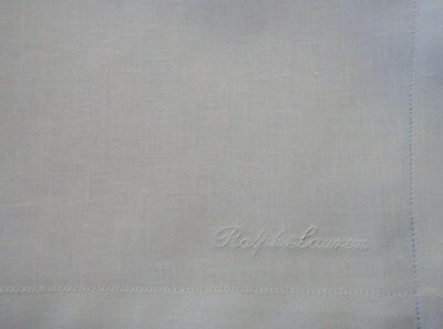 6  Ralph Lauren Embroidered White Linen Handkerchiefs