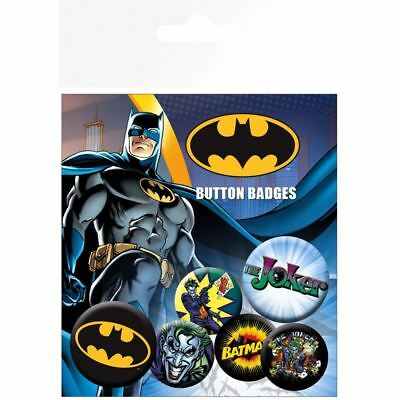 Official Licensed DC Comics Batman and Joker Button Badge Pack - Set of 6