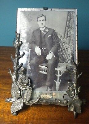 Early Antique Civil War Era Tin Ornate Floral Tree Frame With Glass + Photo