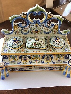 Antique 19th Century Porcelain Faience Desk Stand Enamelled Inkwell 2 Pen Rests.