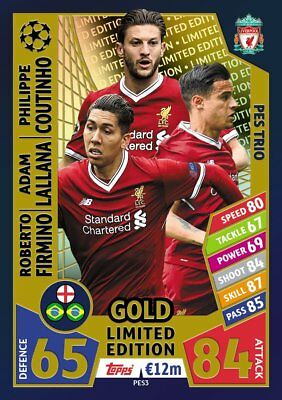 Match Attax 2017/18 gold FC Liverpool PES3 limited Edition Champions League 2018