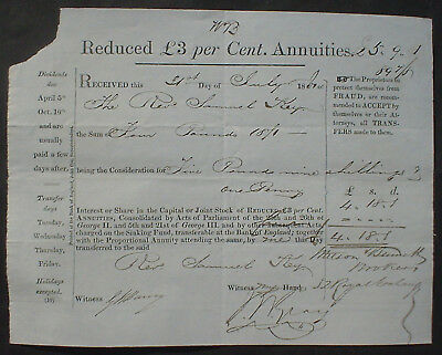 Bank of England 89 Pound Sterling Reduced 3 £ per Cent Annuities 1860