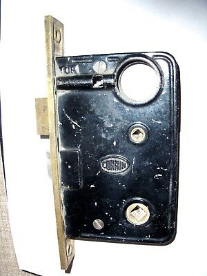 Antique Vintage CORBIN Cast Iron Brass Lock Dead Bolt Door Latch