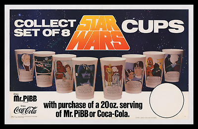 STAR WARS ☆ RARE Coca-Cola ADVERTISING STORE DISPLAY MOVIE POSTER ☆ + 1977 CUPS!