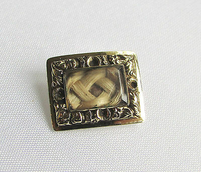 Old antique Georgian 14ct gold mourning brooch with woven hair