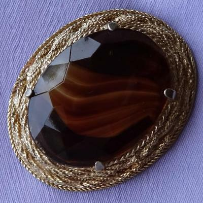 Vintage Large Oval Amber Agate Glass Stone Brooch