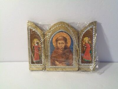 Beautiful vintage antique Italy Triptych religious St Anthony Angels Altarpiece