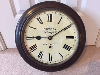 ANTIQUE MAHOGANY CASED WALL CLOCK by DRESDEN KENSINGTON with W&H SCH MOVEMENT