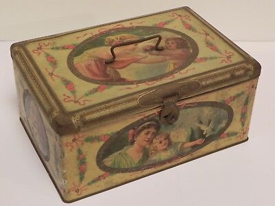 Scatola latta cestino Ryley's Toffees bambini tin biscuit lunch box 1920s