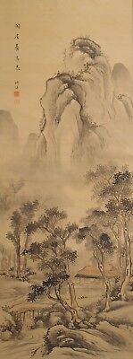 #9305 Japanese Hanging Scroll: Mountain Landscape