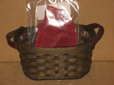 Longaberger Journal Basket deep brown stain combo Paprka liner and protector!