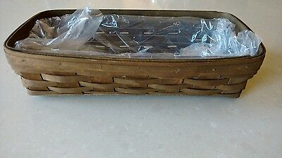Longaberger Rare Bread basket in deep stain with protector, MINT never used!
