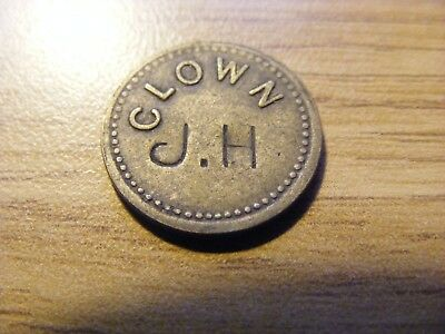 """Counter Stamped """"J.H"""" Clown Two Penny Token  - nice condition -  18mm Dia"""