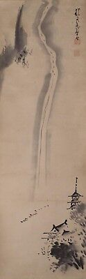 #9312 Japanese Tea Ceremony Scroll: Waterfall Landscape