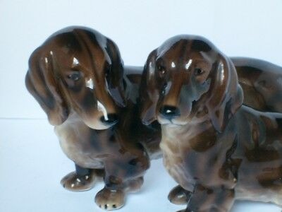 Austrian Signed & Stamped Keramos Conjoined Dachunds Dogs Figurine