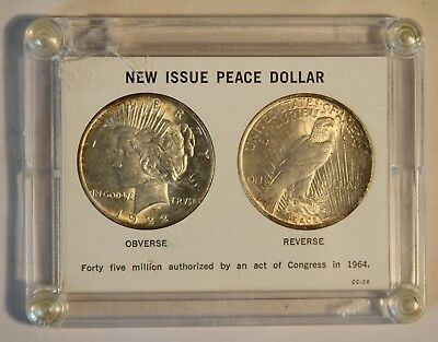 "(2) Cased Uncirculated 1923 Peace Silver Dollars in a ""New Issue"" 1964 Case"