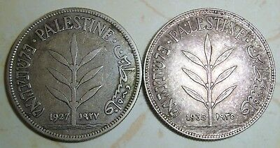 Lot of 2 - PALESTINE 100 MILS SILVER COINS 1927 & 1935