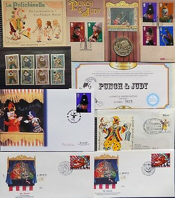 Punch & Judy Fdc Collection + 2001 Charles Dickens Crown + Stamps & Cards ~