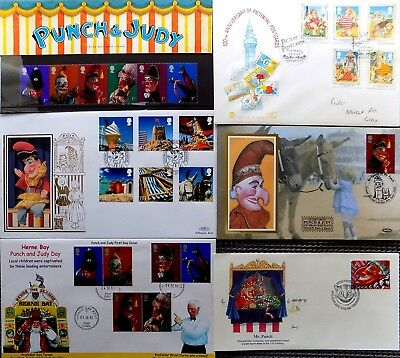 Punch & Judy Fdc Collection ~ Prof. Brian Clarke, Benham Silk, Prof. Des Turner