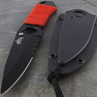 "6.75"" TACTICAL MINI NECKLACE KNIFE + LANYARD Boot Neck Pocket Fixed Blade Combat"