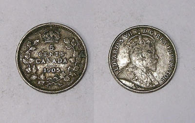 1905 Canada Sterling Silver 5 Cents Nice Detail Inv#321-26
