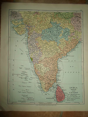 MAP c1920 INDIA STH+CEYLON From Stanfords London Atlas of Universal Geography