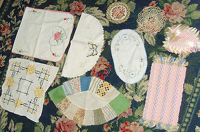 Assorted lot of vintage linens pin cushion pillow runners quilt pieces chic
