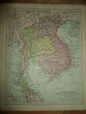 MAP c1920 INDO-CHINA Taken From Stanfords London Atlas of Universal Geography